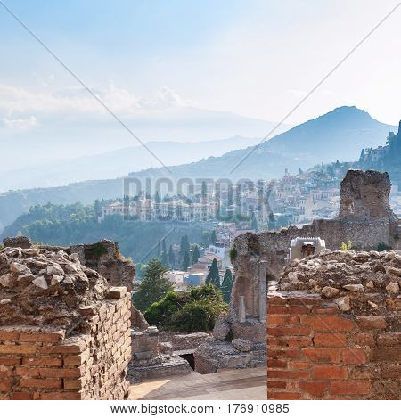 Brick Walls Of Ancient Teatro Greco In Taormina