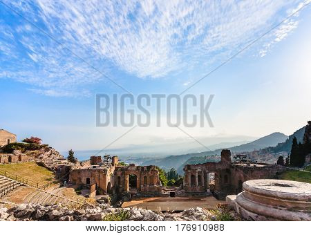 Blue Twilight Sky Over Ancient Teatro Greco