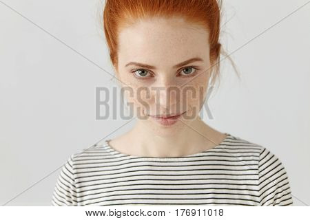 Close Up Shot Of Attractive Beautiful Young Caucasian Female Model With Green Eyes And Freckles All