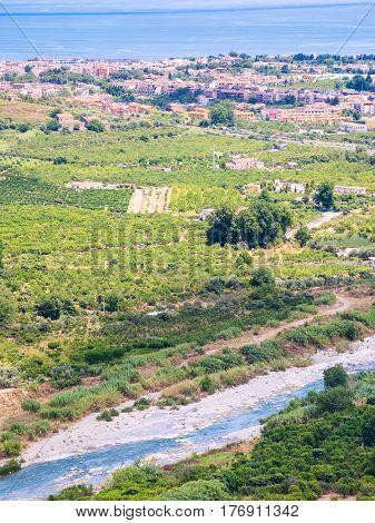 Above View Of River Alcantara And Recanati