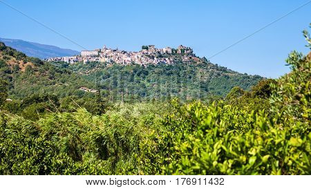 View Of Castiglione Di Sicilia Town On Hill