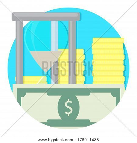 Time and money icon. Salary banknote budget vector illustration