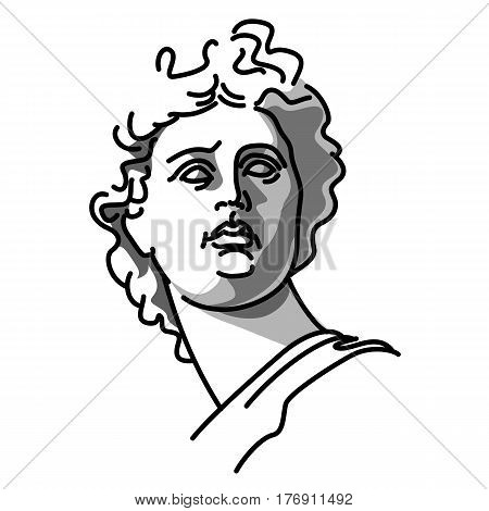 Vector illustration of statue of Greek god Apollo