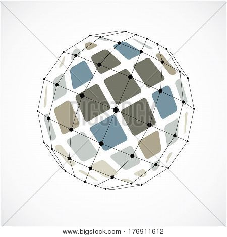 Vector Dimensional Wireframe Low Poly Object, Spherical Colorful Facet Shape With Black Grid. Techno