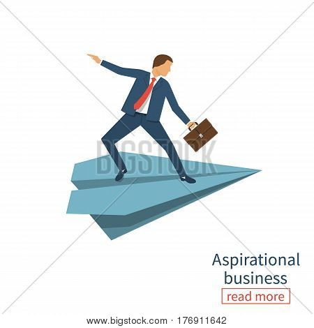 Aspirational business. Leadership, concept of vision, mission ambitions. Path to success. Man with briefcase in hand flies on paper plane. Vector illustration flat design. Isolated on white background