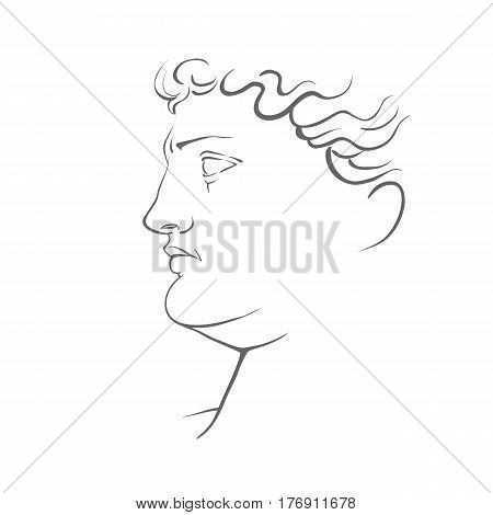 Vector illustration of Michelangelo's David head sculpture