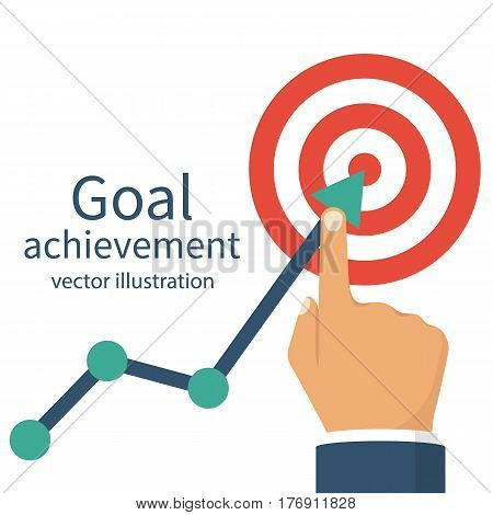 Goal achievement. Successful way up to the goal. Ambition business. Path chart to target. Vector illustration flat design. Isolated on white background. Businessman to top graph. Aspiration to victory