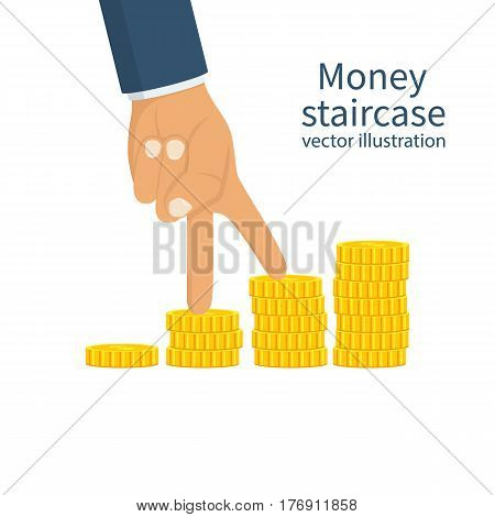 Money staircase concept. Businessman walk fingers over the stock of coins. Infographics, steps to achieve the goal. Vector illustration flat design. Isolated on white background.