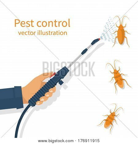 Pest control banner concept. Man exterminator holds a sprayer in hands spraying pesticide. Destruction bug. Service to protect the house. Vector illustration flat design. Isolated on white background.