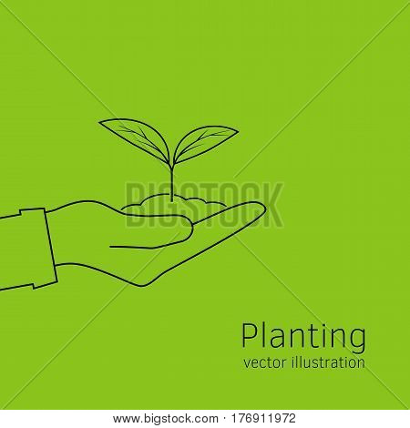 Planting sapling isolated icon line on green background. Man farmer, gardener hold sprout in hand. Care and environmental development template. Ecology concept. Vector illustration.