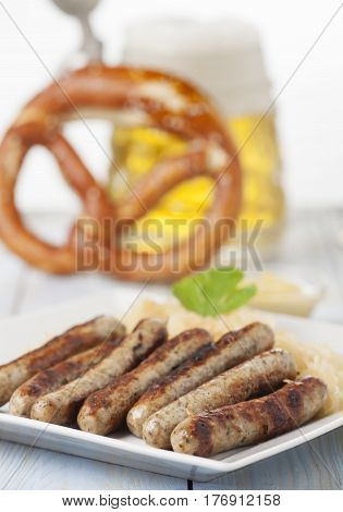 nuremberg bratwurst with cabbage on a plate