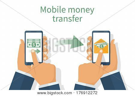 Sending and receiving money. Payment app. Two smartphones in men's hands. Incoming email. Vector illustration flat design. Isolated on white background. Modern technologies. Mobile banking.