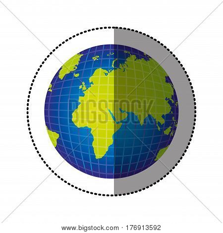color gobal planet map icon, vector illustration design