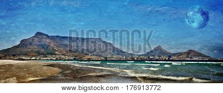 Landscape with Table Mountain across the sea and Full Moon