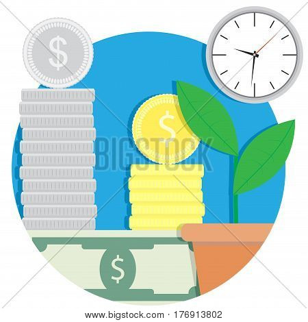 Growth finance capital icon. Result buisness finance vector illustration