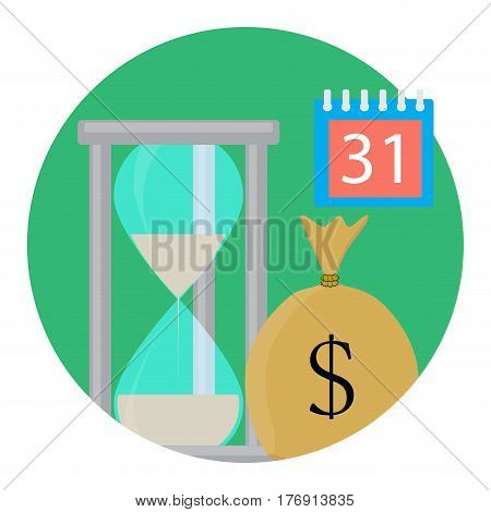 Time and money. Save time and money payment calendar vector illustration