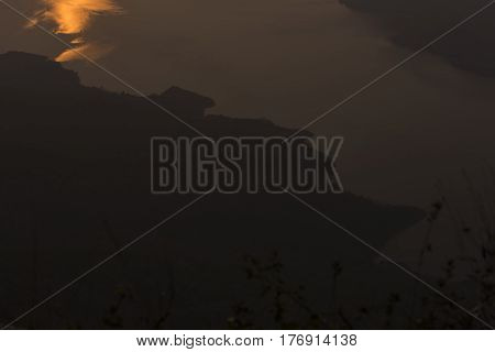 Sunrise at mountain view point, Pha Daeng Luang, Mae Ping Nation Park, Lumphun Province, Thailand.