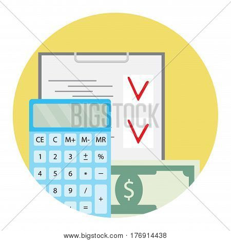 Audit of finance. Bookkeeping and accounting account data vector icon illustration