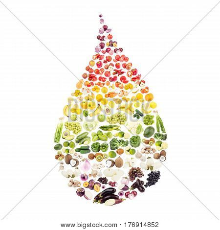 Rainbow made from different raw fruits and vegetables in the drop shape isolated on white