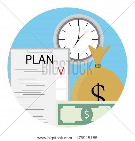 Plan time and money. Clipboard plan finance productive work and business. Vector illustration