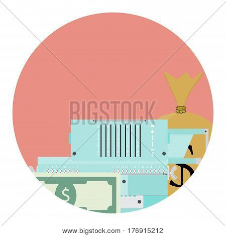 Count money concept. Pay money tax banking calculation illustration vector