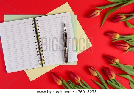 Open paper notebook, paper cards and pen on the red background with beautiful fresh bunch of flowers tulips. Top view