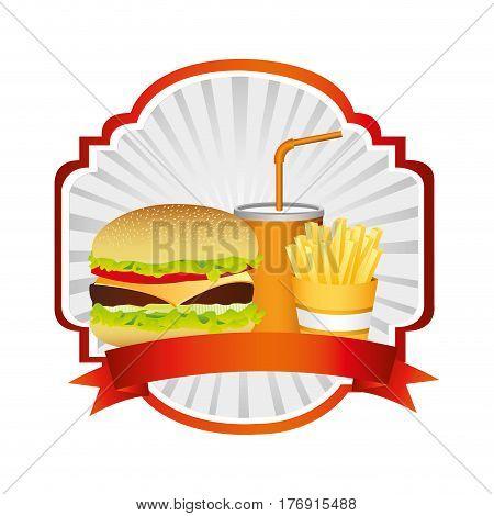 emblem with hamburger, soda and fries french and ribbon, vector illustration