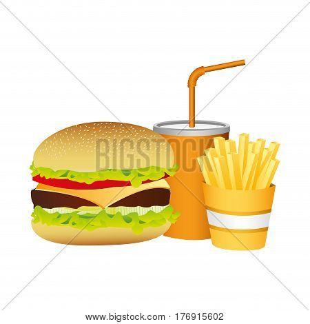 hamburger, soda and fries french food, vector illustration
