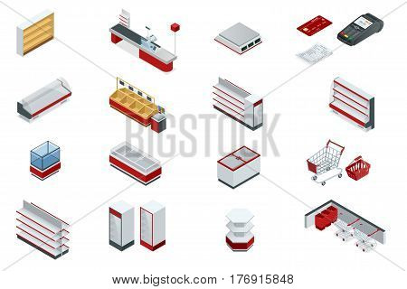 Vector isometric set elements for super market interior plan. Store shelves, cart, basket, equipment store, payment systems in flat style isolated on white background for your design.