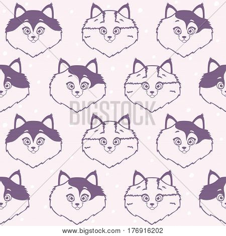 Seamless pattern with character cute and funny cat. Cool stylish wallpaper. Vector illustration
