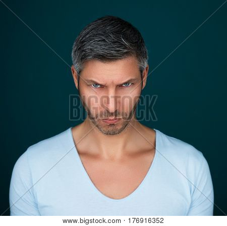 male portrait of anger man