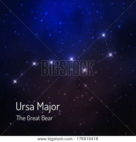 Great Bear Ursa major constellation in the night starry sky. Vector illustration