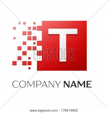 Letter T vector logo symbol in the colorful square with shattered blocks on white background. Vector template for your design