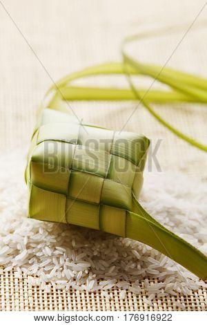 ketupat with rice on the matt