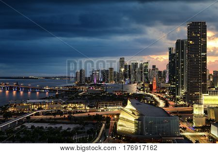 Miami city downtown district, at night Floride USA