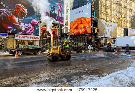 New York City - March 16, 2017: Road Under Construction, Asphalting In Progress