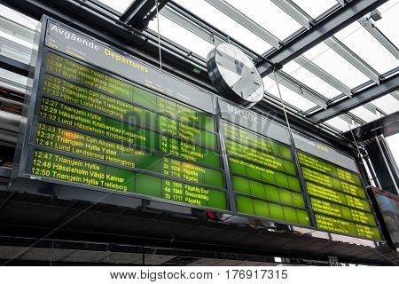 MALMO SWEDEN - MARCH 07 2017: Information board on Malmo Central station the third busiest in Sweden behind Stockholm and Gothenburg.