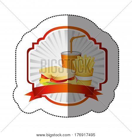 color french fries, sandwich and soda inside emblem ribbon, vector illustration