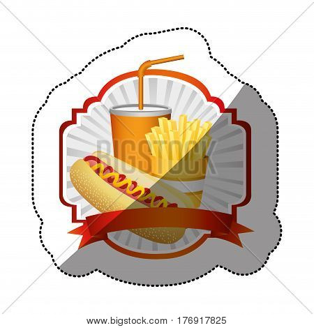 color emblem with hot dog, fries french and soda with ribbon, vector illustration