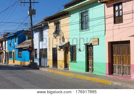 SAN CRISTOBAL DE LAS CASAS CHIAPAS MEXICO - FEBRUARY 19 2017: San Cristobal de las Casas is known for its preservation of colorful colonial architecture and stone paved streets with a pleasant temperate climate in the mountains of Chiapas. This street is