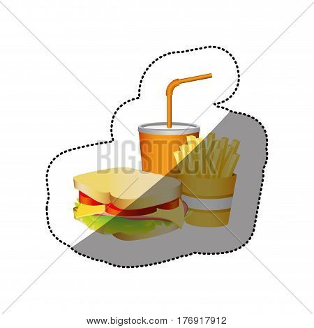 color sandwich, fries french and soda food, vector illustration