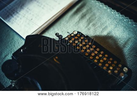Typewriter With Cyrillic Letters