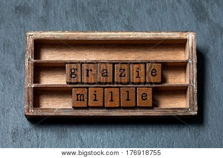 Grazie mille. Many thanks in Italian translation. Vintage box, wooden cubes phrase message written with old style letters. Gray stone textured background. macro, up view, soft focus