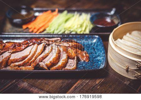Duck in Peking, cut with vegetables in restaurant