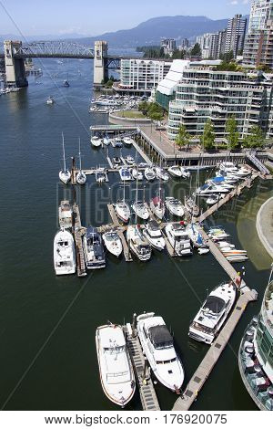 The view of marina in False Creek in Davie Village the district of Vancouver downtown (British Columbia).
