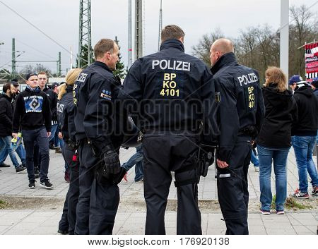 Frankfurt am Main, Germany - March 18, 2017: Police security in Frankfurt am Main during a Bundesliga football match, Germany.