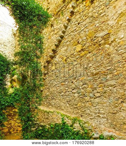 Old town of Pals in Girona, Catalonia at Spain. Fragment of wall