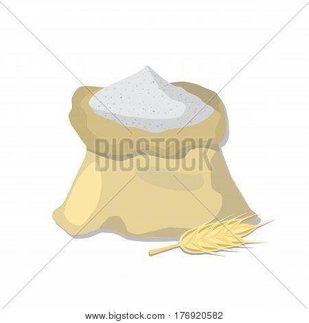 Flour sack and wheat ear. Vector illustration