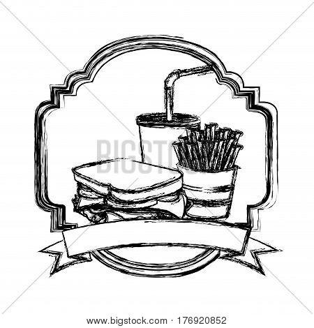 figure french fries, sandwich and soda inside emblem ribbon, vector illustration