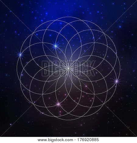 Space background with stars and sacred geometry pattern, flower of life. Vector illustration